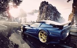 Mountains snow cars roads corvette wallpaper