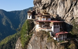 Mountains valley buildings bhutan wallpaper