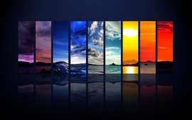 Nature colorful concept rainbows panels wallpaper