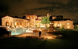 Night architecture garden house swimming pools wallpaper