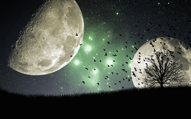Night galaxies moon wallpaper