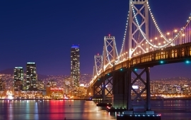 Night lights bridges new york city wallpaper