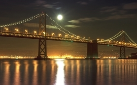 Night lights bridges wallpaper