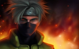 Ninjas blue eyes fire naruto shippuden sharingan anime kakashi wallpaper