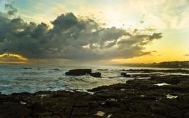 Ocean clouds landscapes nature beach seas casa plage wallpaper