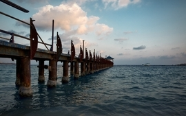 Ocean clouds landscapes nature seas room pier egypt miami wallpaper