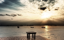 Ocean clouds landscapes nature skyscapes wallpaper