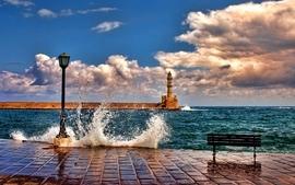 Ocean clouds seas bench wallpaper
