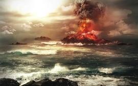 Ocean sea volcanoes artwork situation wallpaper