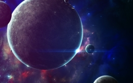 Outer space futuristic planets wallpaper