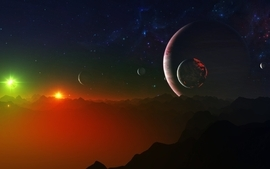 Outer space multicolor stars planets wallpaper
