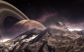 Outer space planets rings wallpaper