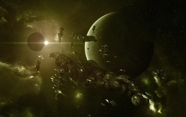Outer space planets spaceships science fiction wallpaper