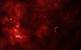 Outer space red galaxies wallpaper