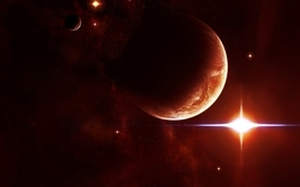 Outer space red stars planets wallpaper