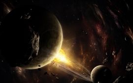 Outer space stars explosions planets asteroids wallpaper