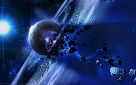 Outer space stars planets asteroids wallpaper