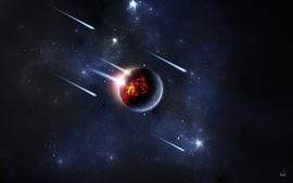 Outer space stars planets destruction deviantart comet meteorite wallpaper