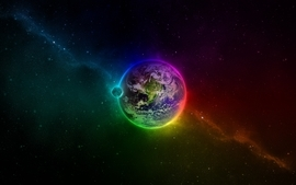 Outer space stars planets earth rainbows wallpaper