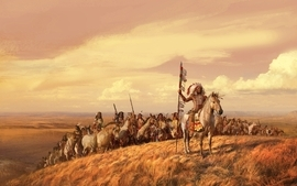 Paintings landscapes valley horses indians artwork spears wallpaper