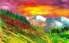 Paintings mountains nature trees wallpaper
