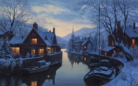 Paintings snow rivers wallpaper