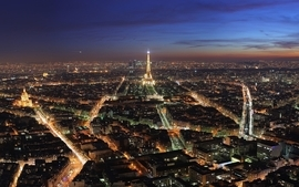 Paris cityscapes skylines night architecture buildings wallpaper