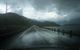 Rain roads water drops roadside monument wallpaper