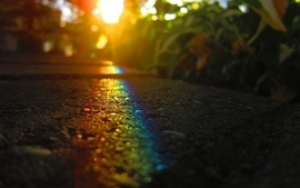 Rainbows roads macro wallpaper