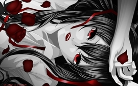 Red eyes lying down monochrome roses anime girls wallpaper