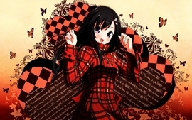 Red text long hair checkered smiles blush happiness open mouth wallpaper