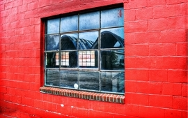 Red wall windows wallpaper