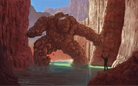 Rock canyon golem artwork rivers skyscapes wallpaper