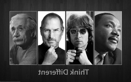 Science men glasses typography john lennon think different wallpaper