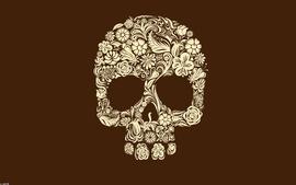 Skulls artistic flowers textures digital art brown background wallpaper