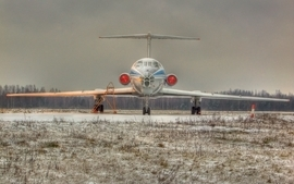 Snow aircraft forest tupolev tu154 wallpaper