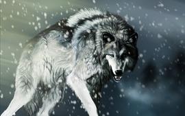 Snow animals artwork mammals wolves wallpaper