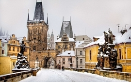 Snow cityscapes bridges prague wallpaper