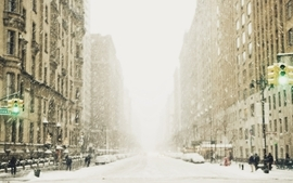 Snow cityscapes streets cold citylife wallpaper