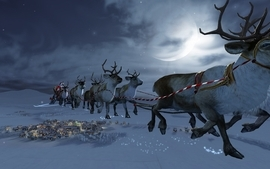 Snow moon christmas town santa claus reindeer night sky wallpaper