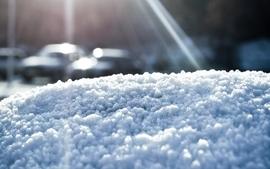 Snow sun cars wallpaper