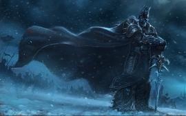 Snow world of warcraft lich king armor arthas artwork swords wallpaper