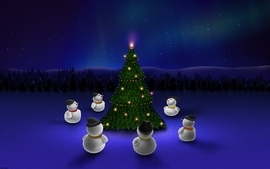 Snowmen With Christmas Tree wallpaper