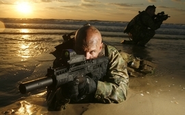 Soldiers sunrise army military weapons navy seals tar21 sea wallpaper