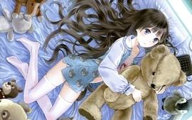Stockings blue eyes beds long hair toys lying down teddy bears wallpaper