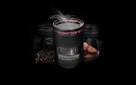 Studio smoke lens canon coffee beans coffee cups black wallpaper