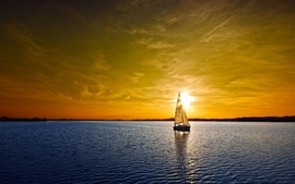 Sunset boats vehicles seascapes wallpaper