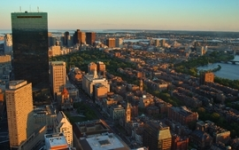 Sunset cityscapes buildings skyscrapers massachusetts cities wallpaper
