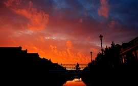 Sunset clouds landscapes bridges evenings skyscapes wallpaper