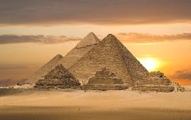 Sunset clouds landscapes nature desert egypt pyramids great wallpaper